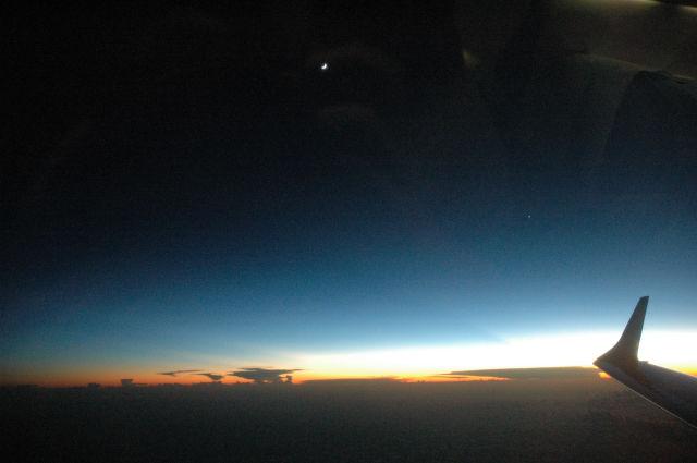 48 coucher de soleil et lever de lune en arrivant sur Cayenne