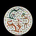 A large polychrome porcelain dragon dish, qing dynasty, guangxu mark and period (1875-1908)