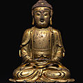 A gilt-bronze figure of Amitabha, Ming dynasty, <b>16th</b>-<b>17th</b> <b>century</b>