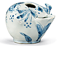 A blue and white peach-form water dropper, Tianqi Period (1621-1627)