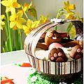 Lapin de <b>Pâques</b> dans son bain moussant de chocolat blanc et noix de coco...