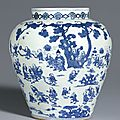 A rare blue and white '<b>Hundred</b> <b>Boys</b>' <b>jar</b>, Mark and Period of Jiajing