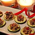 Pâté de foie de poulet aux oignons caramélisés sur rondelles de courgettes, sans gluten et sans lactose