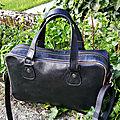 Sac à main - sacoche- sac bandoulière cuir pleine fleur noir pop Rock porté main ou épaule artisanat français