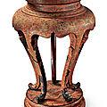 A rare 'tianqi' and 'qiangjin' lacquer 'Dragon' <b>incense</b> <b>stand</b> (xiangji), 17th century
