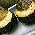 Courgettes rondes farcies aux deux fromages