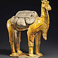 An unusual amber-glazed pottery figure of a <b>Bactrian</b> <b>camel</b>, Sui dynasty (AD 581-618)