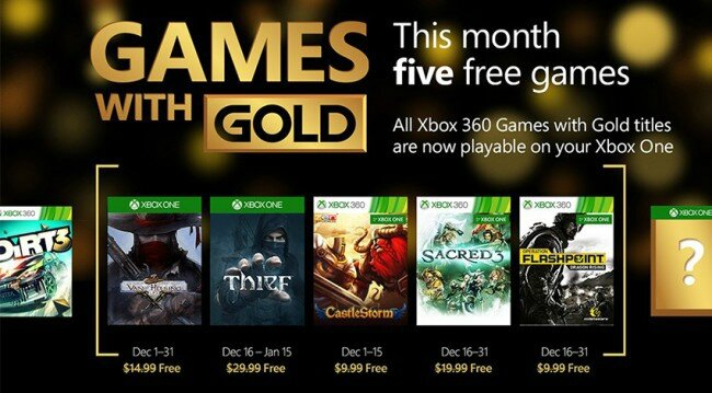 GAMES WITH GOLD DECEMBRE 2015