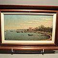 Tableau paysage marin xixème marine bateaux voiliers signé et daté 1977