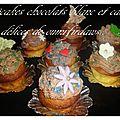 Cupcakes aux chocolat blanc et leurs ganache chocolaté cacao