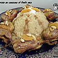 Cailles farcies à la semoule de couscous, amandes et fruits secs