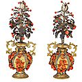A pair of copper, coral and <b>silver</b> <b>vases</b>, Trapani, 17th century