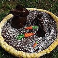 Tarte au chocolat de pâques et ses lapins en chocolat façon
