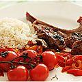 Agneau du quercy à la menthe avec sa fondue de poivrons et ses tomates cerises....
