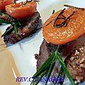 Magrets de canard rôtis à l' abricot et romarin