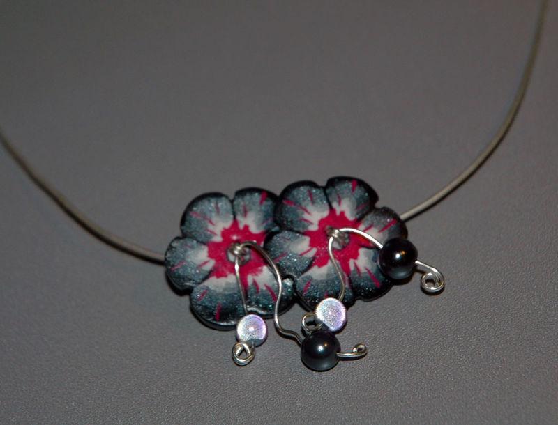 Twin_Flower_Collier_en_pâte_fimo