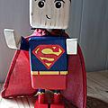 ROBOTS CUIVRE, SUPERMAN et CAPTAIN AMERICA