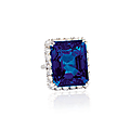 A 50.51 carats octagonal step-cut <b>Ceylon</b> <b>sapphire</b> and diamond ring, by Harry Winston