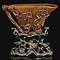 A rhinoceros horn libation cup, 17th century