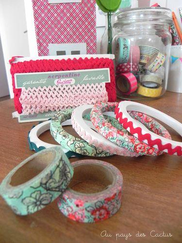 Bracelets bois croquet masking tape Au pays des Cactus
