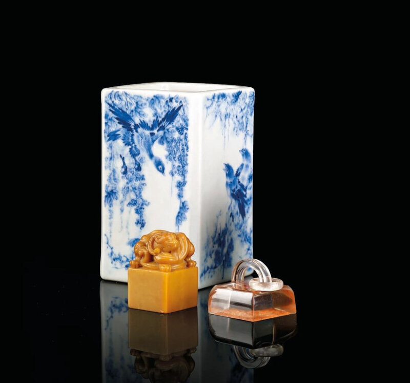 A small blue and white square brush pot, China, 20th century