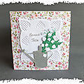 cARTe pop-up : l'<b>arrosoir</b> et le muguet du 1er mai