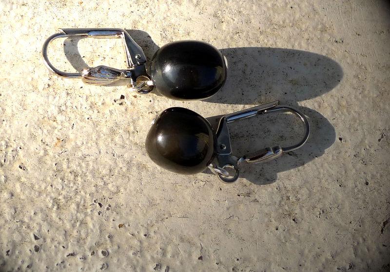Boucles d'oreilles en obsidienne