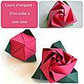 Cours d'origami : d'un cube à une rose
