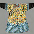 Imperial <b>Manchu</b> man's semiformal court robe with twelve symbols of sovereignty, 1850-1875