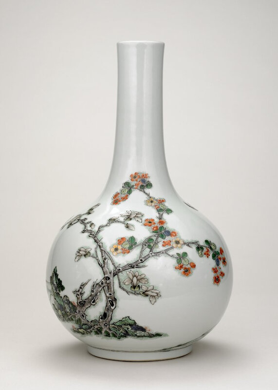 Enamelled vase with horseman, Qing dynasty, Yongzheng mark and period, AD1723–35. Porcelain with relief carving and overglaze enamels, Jingdezhen, Jiangxi province. Height: 36,5 cm. Sir Percival David Collection, British Museum, PDF 823. © The Trustees of