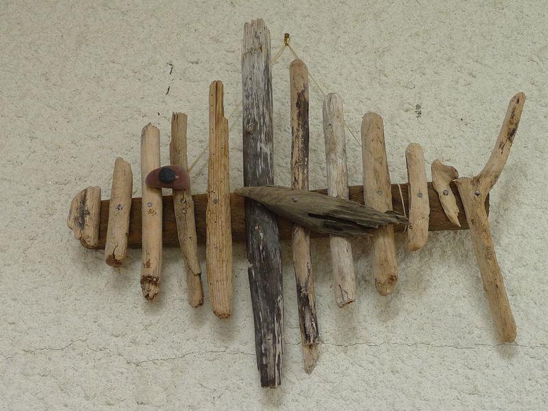 Poisson en bois flottés N°1 - Photo de Déco - Pépin de cerise