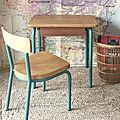 Pupitre maternelle et chaise vintage Luterma