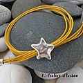 <b>Bracelet</b> soleil par la couleur du cuir jaune et <b>bracelet</b> étoile par le fermoir en métal argenté !