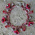 bracelet breloque grande fleur rose