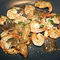 Gambas ou grosses crevettes, pied de mouton et pleurotes sauce échalote