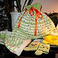 pochon cadeau de naissance rayé blanc-vert