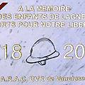 Dimanche 11 novembre 2018 à <b>LAGNES</b>: inauguration de la plaque du Centenaire 1918-2018