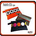 Pochette / Trousse JOSé zippée original orange et bande noir à grosses fleurs blanches - <b>accessoire</b> chic et coloré