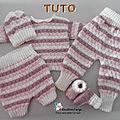 <b>FICHE</b> TRICOT BEBE, explications tricot TUTO, modèle, layette, tricot bb