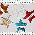 Original:deco pour noel !! stars !! en miroir carton gaufré bleu,argente, d'or et rouge belicious-delicious-creation