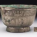 A rare bronze ritual food vessel,yu, Late Shang Dynasty, 12th-11th Century BC