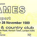 James - mardi 28 novembre 1989 - town & country club (london)