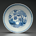 A blue and white shallow bowl, Chongzhen period, circa <b>1643</b>