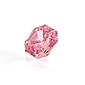 An exceptional square emerald cut fancy intense pink diamond weighing 1,53 ct.