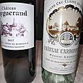 Carbonnieux blanc 2010, Francs-Côtes de Bordeaux : Puygueraud blanc 2017, Daniel Bouland : Morgon vieilles vignes 2011