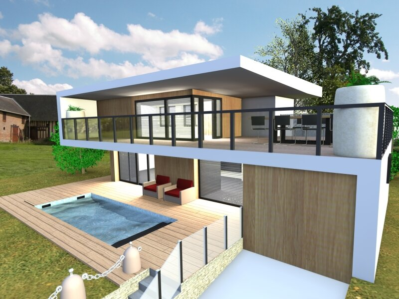 Villa contemporaine album photos plan b infographie for Modele de villa contemporaine