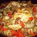 Poulet aux pommes de terre et poivrons