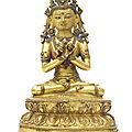 A gilt copper alloy figure of Vajradhara, Tibet, <b>15th</b>-<b>16th</b> <b>century</b>