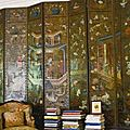 An English or Dutch Chinoiserie painted and embossed leather <b>eight</b>-<b>panel</b> <b>screen</b> mid 18th century