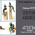 Exposition de sculptures et aquarelles à la boutique de Créateurs, Fête des Annonciades à Art'<b>Loc</b>'Hall